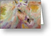 White White Horse Pastels Greeting Cards - Cutting loose Greeting Card by Frances Marino