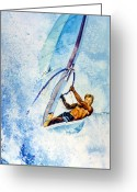 Wind Surfing Art Painting Greeting Cards - Cutting The Surf Greeting Card by Hanne Lore Koehler