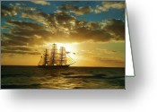 Sails Digital Art Greeting Cards - Cutty Sark Greeting Card by Dale Jackson