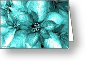 Turquois Greeting Cards - Cyan Shimmer Greeting Card by DigiArt Diaries by Vicky Browning