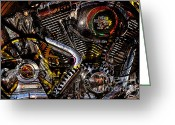 Cycles Digital Art Greeting Cards - Cyberpunk Harley-Davidson Modified In Abstract . 7D12658 Greeting Card by Wingsdomain Art and Photography
