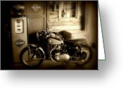 Vintage Greeting Cards - Cycle Garage Greeting Card by Perry Webster