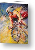 Sportsmen Greeting Cards - Cycling Greeting Card by Miki De Goodaboom
