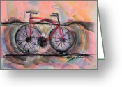 Friendly Pastels Greeting Cards - Cycling Solo Greeting Card by Robert M Sassi