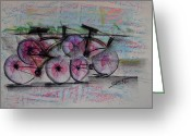 Friendly Pastels Greeting Cards - Cycling Sunset Greeting Card by Robert M Sassi