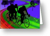 Male Athletes Greeting Cards - Cycling Trio on Ribbon Road Greeting Card by Elaine Plesser