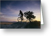 Male Athletes Greeting Cards - Cyclist At Sunset, Northern Arizona Greeting Card by David Edwards