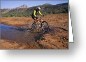 Male Athletes Greeting Cards - Cyclist Going Through Puddle, Arizona Greeting Card by David Edwards