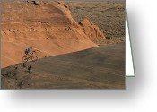 Male Athletes Greeting Cards - Cyclist In Arizona Landscape Greeting Card by David Edwards
