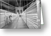 Bike Riding Greeting Cards - Cyclist On The Brooklyn Bridge Greeting Card by Mark Gilman