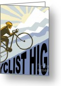 High Wheel Greeting Cards - Cyclist racing bike Greeting Card by Aloysius Patrimonio