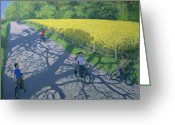 Rapeseed Greeting Cards - Cyclists and Yellow Field Greeting Card by Andrew Macara