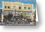 Bicycle Art Greeting Cards - Cyclists at the Roasters Greeting Card by Colleen Proppe