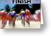Eye On The Ball Greeting Cards - Cyclists Crossing the Finish Line Greeting Card by Steve Ohlsen