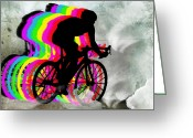 Figures Silhouettes Young Sport Grunge Athletes Greeting Cards - Cyclists Cycling in the Clouds Greeting Card by Elaine Plesser