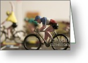 Biker Greeting Cards - Cyclists. Figurines. Symbolic image Tour de France Greeting Card by Bernard Jaubert
