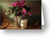 Cup Photo Greeting Cards - Cyclomen Flower Pot And Cup With Strips Greeting Card by Copyright Anna Nemoy(Xaomena)