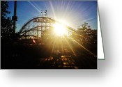 Wooden Coaster Greeting Cards - Cyclone Sunburst Greeting Card by Jeff Stein