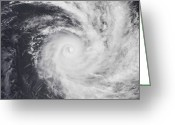 Typhoon Greeting Cards - Cyclone Zoe In The South Pacific Ocean Greeting Card by Stocktrek Images