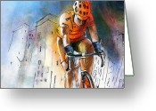Sports Art Greeting Cards - Cycloscape 01 Greeting Card by Miki De Goodaboom