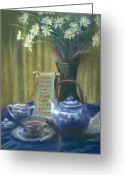 Blue Flowers Pastels Greeting Cards - Cyndis Tea Time Greeting Card by Penny Neimiller
