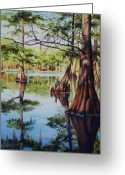 Cypress Tree Greeting Cards - Cypress in Lake Chicot Greeting Card by Sue Zimmermann