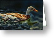 Mutt Greeting Cards - Dabbling in Blue Waters Greeting Card by Bill Tiepelman
