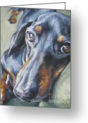 L.a.shepard Greeting Cards - Dachshund black and tan Greeting Card by L A Shepard