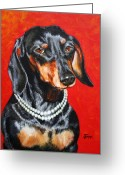 Jimmie Greeting Cards - Dachshund in Pearls Greeting Card by Jimmie Bartlett