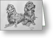 Puppies Greeting Cards - Dachshunds Greeting Card by Jana Goode