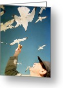 Eat Free Greeting Cards - Dad and the seagulls Greeting Card by Emanuel Tanjala