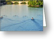 Rowing Crew Greeting Cards - Dad Vail Regatta - The Race is On Greeting Card by Bill Cannon