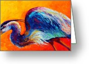Birds Greeting Cards - Daddy Long Legs - Great Blue Heron Greeting Card by Marion Rose
