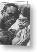 African American Art Drawings Greeting Cards - Daddys Home Greeting Card by Curtis James