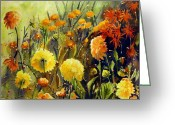 Cal Kimola Greeting Cards - Dads Dahlias Greeting Card by Cal Kimola