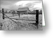 Black And White Barn Greeting Cards - Dads Place Greeting Card by James Steele