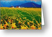 Landscape Framed Print Greeting Cards - Daffodil landscape Greeting Card by John  Nolan