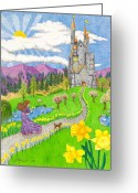 Maiden Drawings Greeting Cards - Daffodil Lane Greeting Card by Judy Cheryl Newcomb