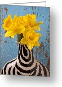 Shaped Greeting Cards - Daffodils in Wide Striped Vase Greeting Card by Garry Gay