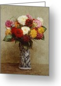 Signed Greeting Cards - Dahlias in a Chinese Vase Greeting Card by Ignace Henri Jean Fantin-Latour