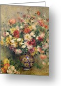 Pierre Auguste (1841-1919) Greeting Cards - Dahlias Greeting Card by Pierre Auguste Renoir