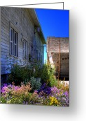 Wheels Greeting Cards - Dahmen Barn Flowers Greeting Card by David Patterson