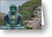 Blossoms Greeting Cards - Daibutsu Buddha Greeting Card by Alan Toepfer