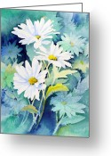 Green Painting Greeting Cards - Daisies Greeting Card by Sam Sidders