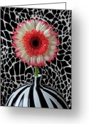Chrysanthemum Greeting Cards - Daisy and graphic vase Greeting Card by Garry Gay