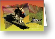 German Shepard Digital Art Greeting Cards - Daisy and Kit-Cat Greeting Card by Donna Brown