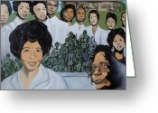 Civil Rights Greeting Cards - Daisy Bates and the Little Rock Nine Tribute Greeting Card by Angelo Thomas