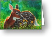 Daisies Greeting Cards - Daisy Deer Greeting Card by Crista Forest