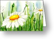 Daisies Greeting Cards - Daisy Field Greeting Card by Ann Troe