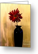 Decor Floral Picture Cards Greeting Cards - Daisy In Black Vase Greeting Card by Marsha Heiken